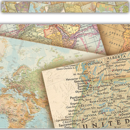 [8639 TCR] Travel the Map Straight Border Trim