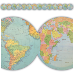 [8640 TCR] Travel the Map Globes Die-Cut Border Trim