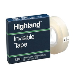 "[620012X1296 MMM] 1/2"" Highland Invisible Tape Roll"