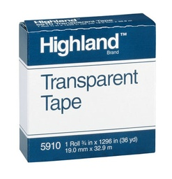 "[591012X1296 MMM] 1/2"" Highland Transparent Tape Roll"