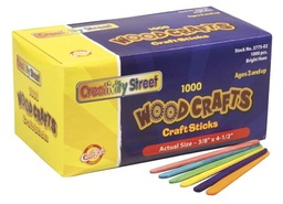 [AC377502 PAC] 1000ct Colored Wood Craft Sticks 4.5in X 3/8in
