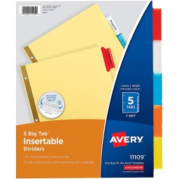 [11109 AVE] 5 Tab Big Tab Insertable Dividers