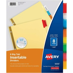 [11111 AVE] 8 Tab Big Tab Insertable Dividers