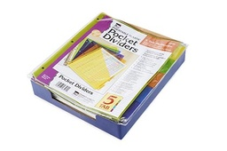 [48505ST CLI] Index Dividers with Pocket 5 Tabs Plastic Assorted Colors
