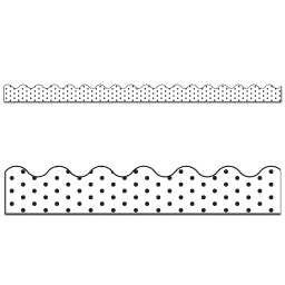 [108340 CD] Industrial Chic White Black Dots Scalloped Border
